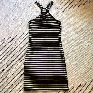 Striped halter neck mini dress